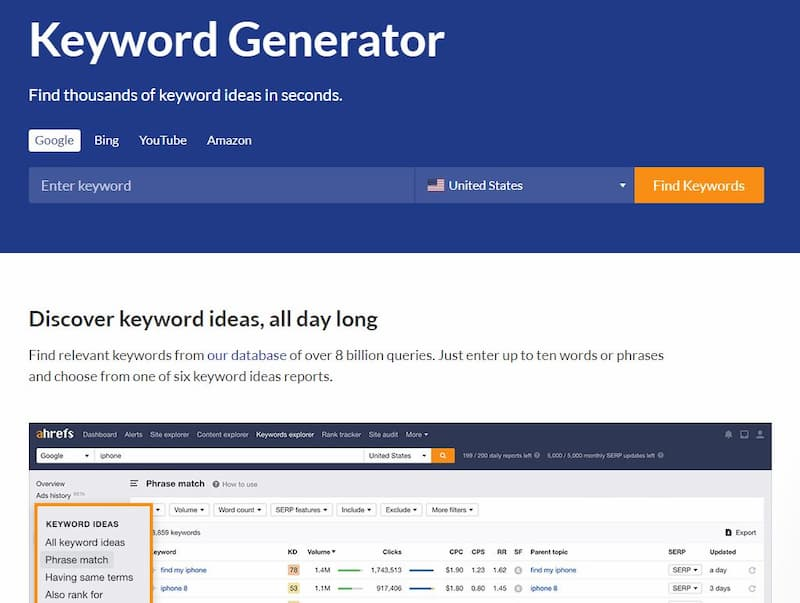 The AHREFS keyword generator tool is a free option for up to 100 keywords - How to Find Keywords for SEO for Free