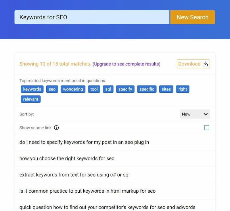 "QuestionDB Test search for ""keywords for SEO"" and the top results - How to Find Keywords for SEO for Free"
